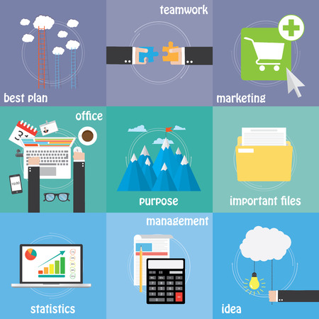 purpose: Color icons management, teamwork, purpose and better solution Illustration