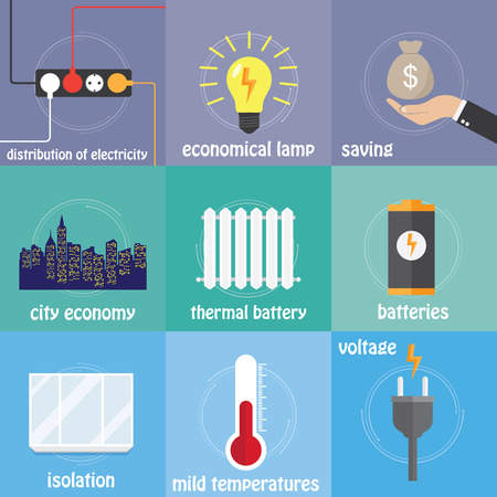 preservation: Color icons electricity, preservation, saving, temperature and city