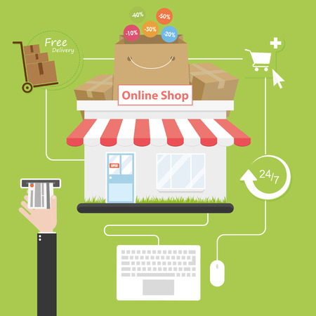 purchases: Online shopping. Flat style. Savings on purchases over the internet