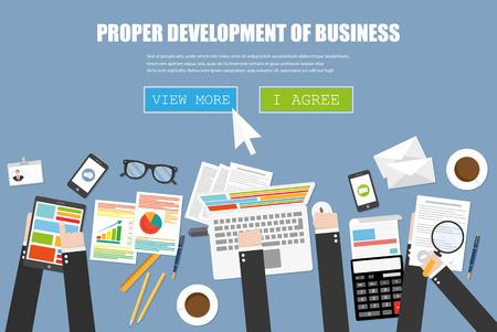 proper: Lo sviluppo del business corretta, il concetto di lavoro di squadra Vettoriali