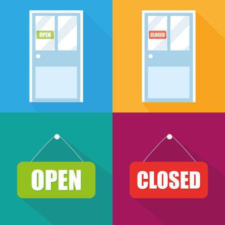 doorhandle: Open and Closed signs