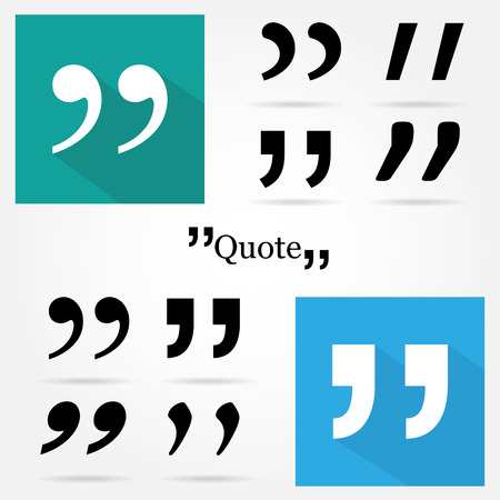 and comma: Quote icon isolated Illustration
