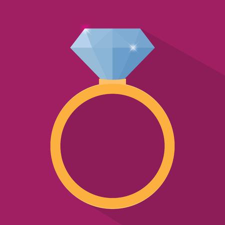 anillo de compromiso: Icono de anillo Vectores