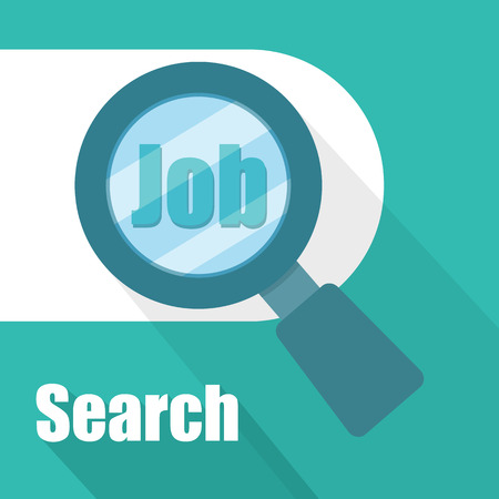 magnify glass: Search job with magnify glass Illustration