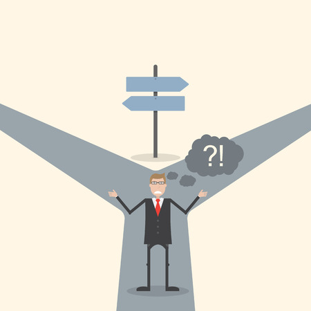 where to go: Businessman do not know where to go Illustration