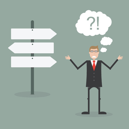 difficult journey: Businessman do not know where to go Illustration