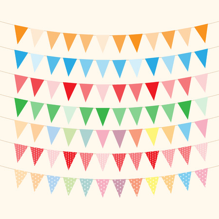 hanging banner: Bunting and garlands for Birthday Card Illustration