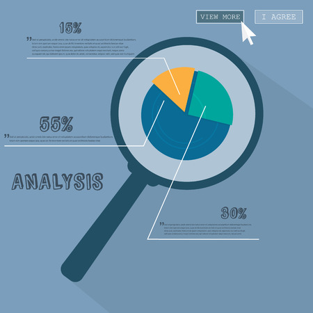 stockmarket chart: Infographics Business analysis under the magnifying glass Illustration
