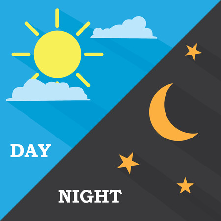 night time: Sun and moon day and night. Vector