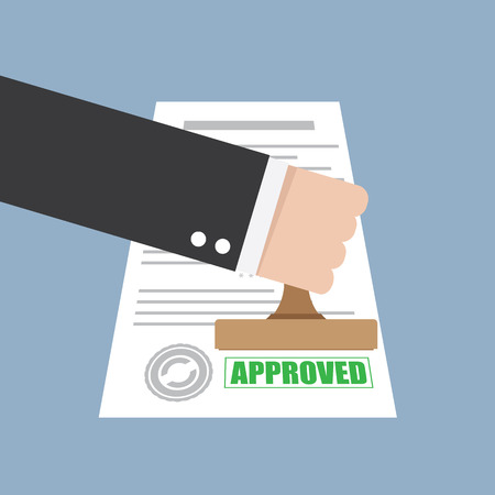 accept: Approved stamp in hand businessman