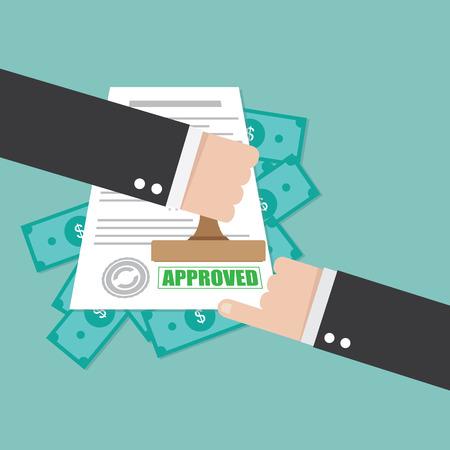 approved stamp: Sello aprobado en mano empresario Vectores