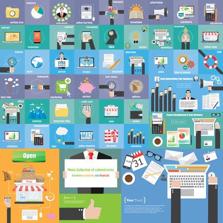 Icone plat couleur Mega collection affaires icône économique et financière Vecteurs