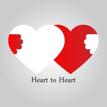 love card: Concepto de la amistad. Coraz�n a coraz�n