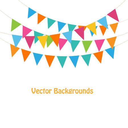triangular banner: Bunting and garlands Illustration