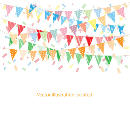 childrens birthday party: Multicolored bright buntings garlands with confetti Illustration
