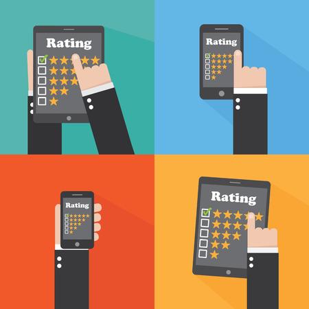 rating: Rating. Flat design Illustration
