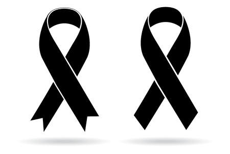 cancer symbol: Mourning and melanoma support symbol Illustration