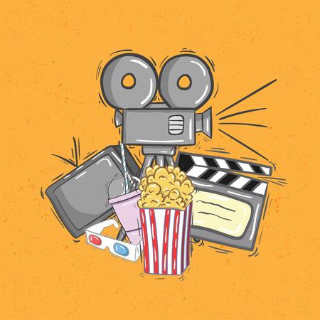 cinematografico: Iconos del cine retro sobre fondo naranja Vectores