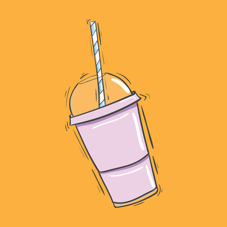 shakes: Plastic cup with a straw