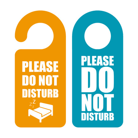 hotel room door: Do not disturb. Door hanger