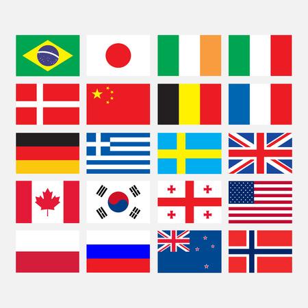 bandera rusia: Banderas iconos de estilo plano