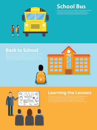 escuela edificio: Volver a la Escuela de diseño de estilo plano. El aprendizaje de las lecciones, autobús escolar, escuela Vectores