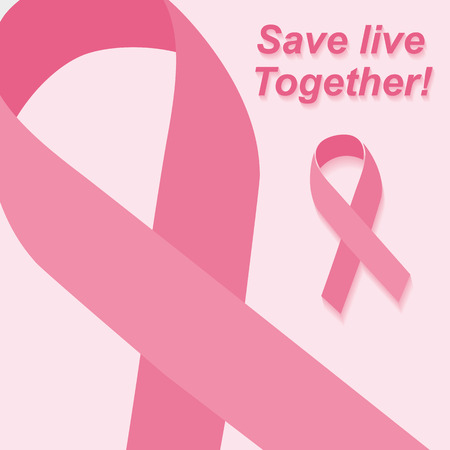 breast cancer awareness ribbon: Breast ribbon with long shadow. Pink Ribbon