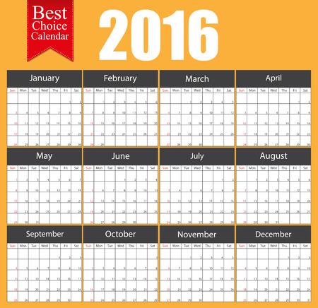 calendrier: Conception brochure du mod�le d'affaires 2016 de calendrier