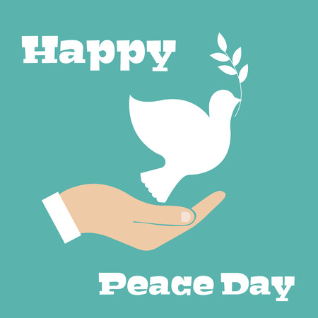 paloma de la paz: La paz se zambulló con la rama de olivo. Día de la Paz