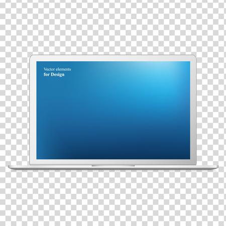 Modern laptop isolato su sfondo bianco - illustrazione vettoriale