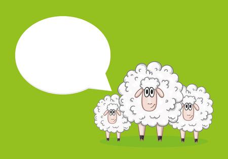 speech bubble: Sheep with speech bubble Illustration