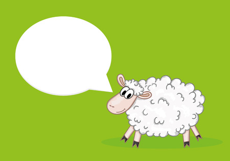 Sheep with speech bubble Illustration