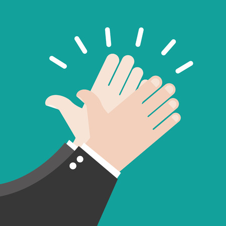 high five: Hands clapping vector icons
