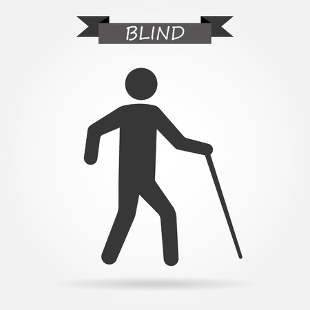 man standing alone: Blind man vector