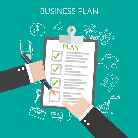 Business plan Flat vector illustration Vettoriali