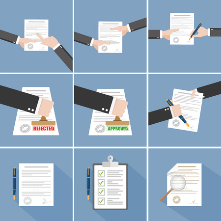 contracts: Vector agreement icon - hand signing contract