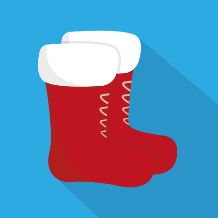 red shoes: Red shoes santa. Flat icon