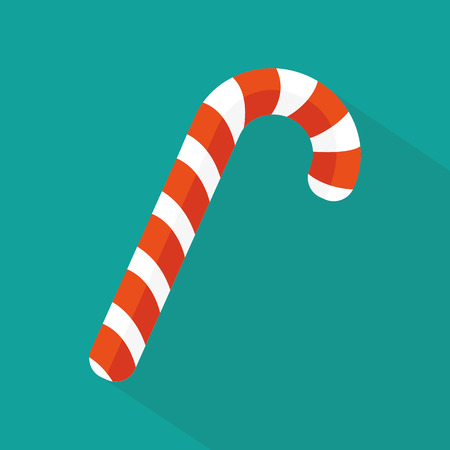 candy cane background: Christmas candy icon flat Illustration