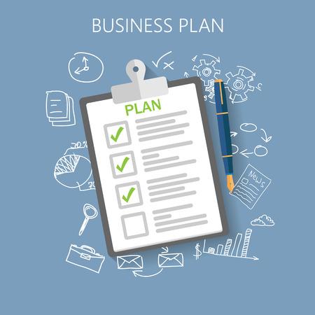 biznes: Biznes plan ilustracja z płaskim wektor