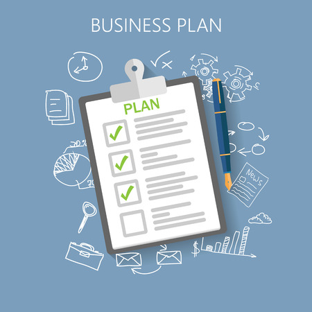 commercio: Business plan illustrazione vettoriale piatto