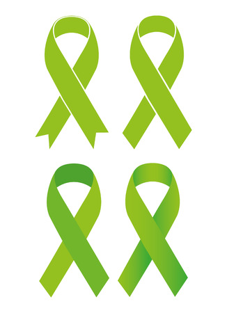 gastroparesis: Symbol of Scoliosis. Green ribbon Illustration