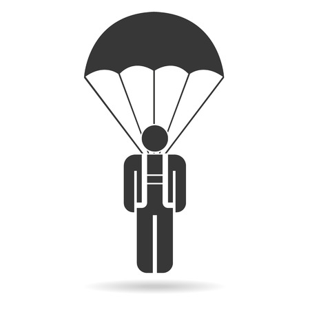 skydiver: Skydiver on parachute. Vector icon