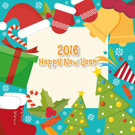 Christmas Greeting Card With Christmas Symbols Background Royalty