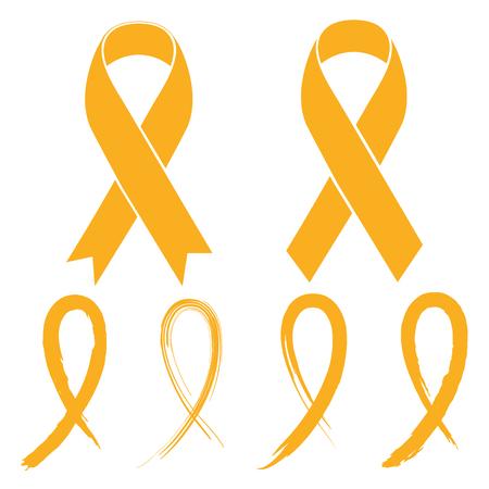 小児がんゴールド リボン-  イラスト・ベクター素材