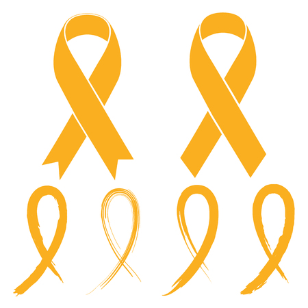 Gold ribbon - childhood cancer Vectores