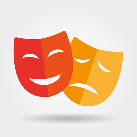 face mask: Mask iconTheater icon with happy and sad masks
