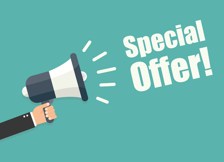 special offer: Hand holding megaphone - Special offer