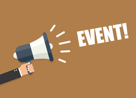 business event: Hand holding megaphone - Event