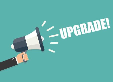 upgrade: Hand holding megaphone - Upgrade Illustration