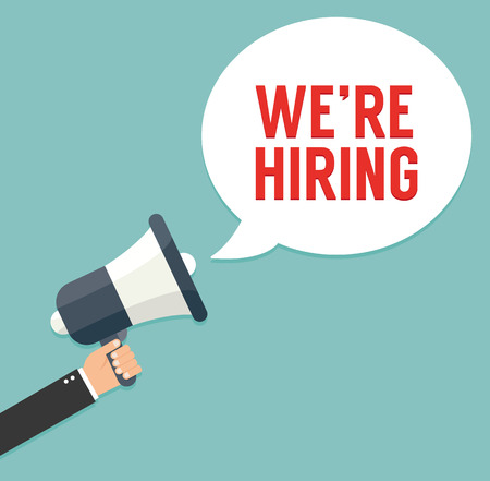hiring: Hand holding megaphone - We are hiring